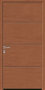 Hormann L-Ribbed Decograin Steel Side Door in Golden Oak