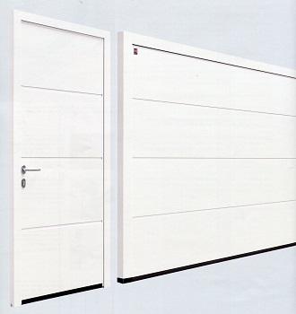 L-Ribbed sectional garage door with matching side door