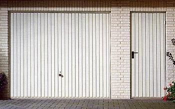 Hormann Vertical-Rib Steel Up & Over garage door with matching side door