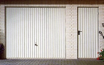 Hormann Vertical-Rib Up & Over garage door with matching side door