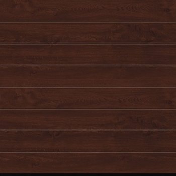 Hormann LPU42 M-Ribbed Decograin Sectional Door in Dark Oak