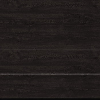 Hormann LPU42 L-Ribbed Decograin Sectional Door in Night Oak