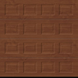 Hormann LPU42 S-Panelled Decograin Sectional Door in Golden Oak