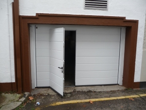 Hormann M-Rib Insulated Steel sectional garage door with wicket