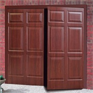 Cardale Sheraton Steel Side-Hinged garage doors in Rosewood