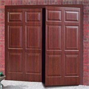 Cardale Sheraton Steel Side-Hinged garage doors in Rosewood
