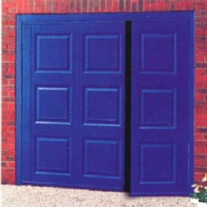 Cardale Georgian Steel Side-Hinged garage doors in Oxford Blue