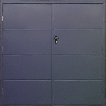 Fort Horizontal Wide Rib Steel Side-Hinged Garage Doors in Anthracite Grey