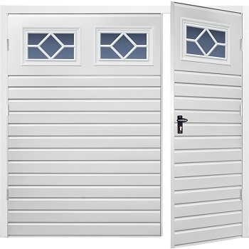 Fort Chester Horizontal Small Rib Steel Side-Hinged Garage Doors with Windows