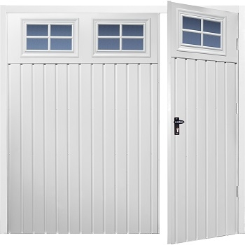 Fort Chester Vertical Small Rib Steel Side-Hinged Garage Doors with Windows