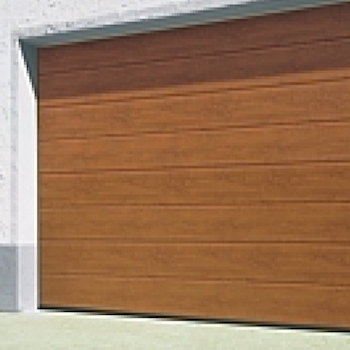 Hormann LPU42 L-Ribbed Decograin Sectional Door in Golden Oak