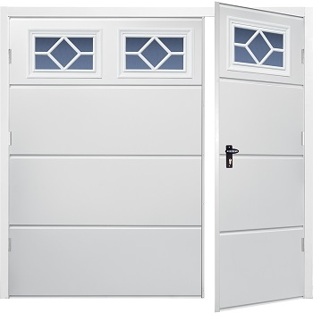 Fort Horizontal Wide Rib Steel Side-Hinged Garage Doors with Windows