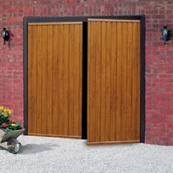 Cardale Gemini Steel Side-Hinged garage doors in Golden Oak