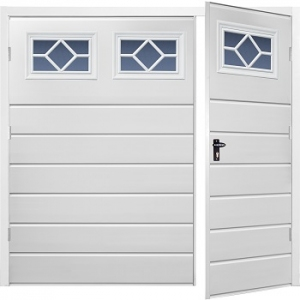 Fort Chester Horizontal Medium Rib Steel Side-Hinged Garage Doors with Windows