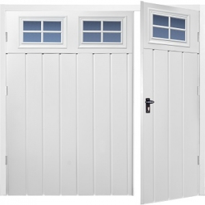 Fort Chester Vertical Medium Rib Steel Side-Hinged Garage Doors with Windows