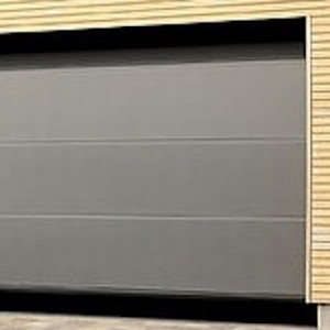 Hormann LPU42 L-Ribbed Sectional Door in Titan Metallic CH 703