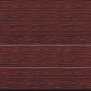 Hormann LPU42 L-Ribbed Decograin Sectional Door in Rosewood