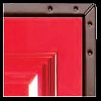 Red Platinum GRP Side-Hinged garage door on Brown chassis