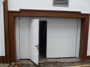 Hormann M rib Insulated sectional garage door with wicket
