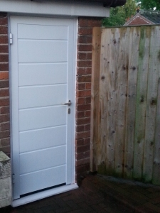M: Hormann NT60 insulated side entrance door in M rib in white