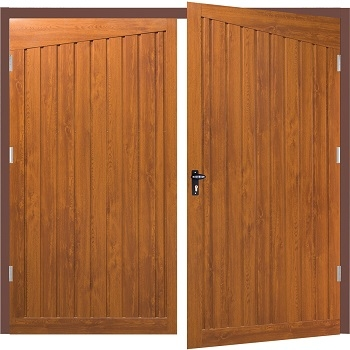 Fort Alton Steel Side-Hinged Garage Doors in Golden Oak