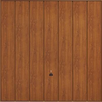 Garador Sherwood Vertical-Ribbed Timber Effect Steel Up & Over garage door in Golden Oak