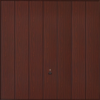 Garador Sherwood Vertical-Ribbed Timber Effect Steel Up & Over garage door in Rosewood