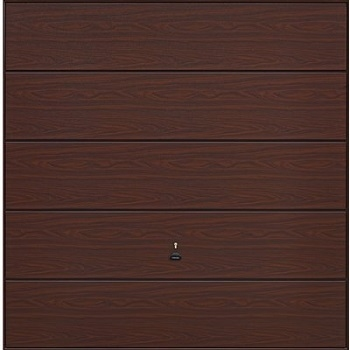 Garador Wentwood Horizontal-Ribbed Timber Effect Steel Up & Over garage door in Rosewood