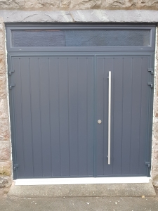 D1: CarTeck insulated side-hinged doors in Anthracite Grey vertical rib in one third two third split with long pull handle