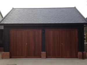 D1: Woodrite Chalfont cedar side-hinged doors in teak wood stain