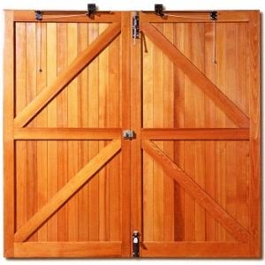 Rear View of Woodrite solid-built side-hinged garage doors